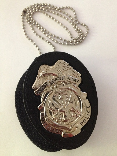ARMY MP BADGE BELT CLIP HOLDER with CHAIN & NICKEL BADGE