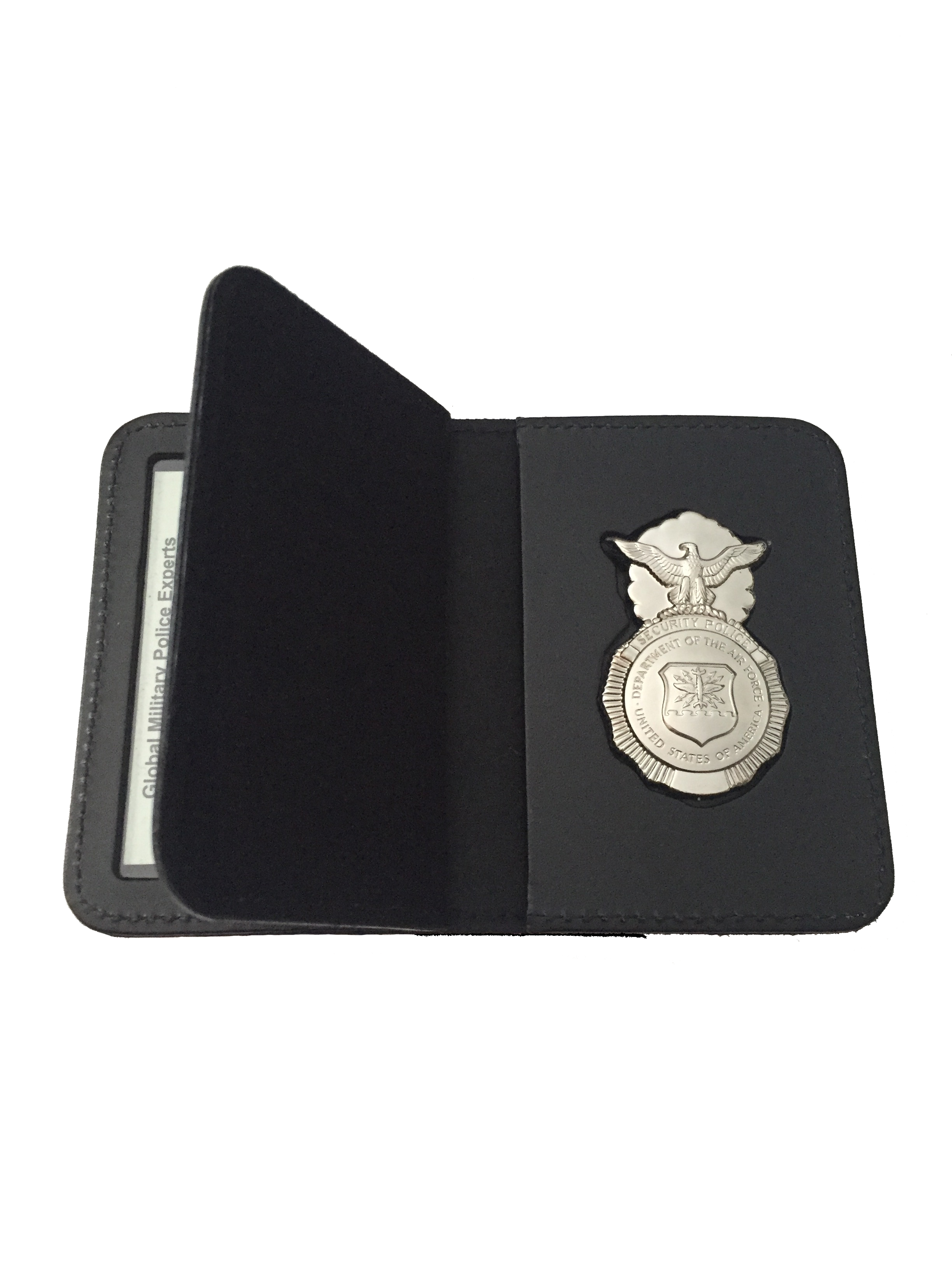 LEOSA USAF SP DUTY LEATHER RECESSED BADGE DOUBLE ID CASE & BADGE