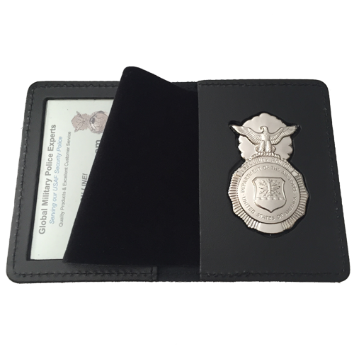LEOSA USAF SP DUTY LEATHER RECESSED BADGE ID CASE w/BADGE