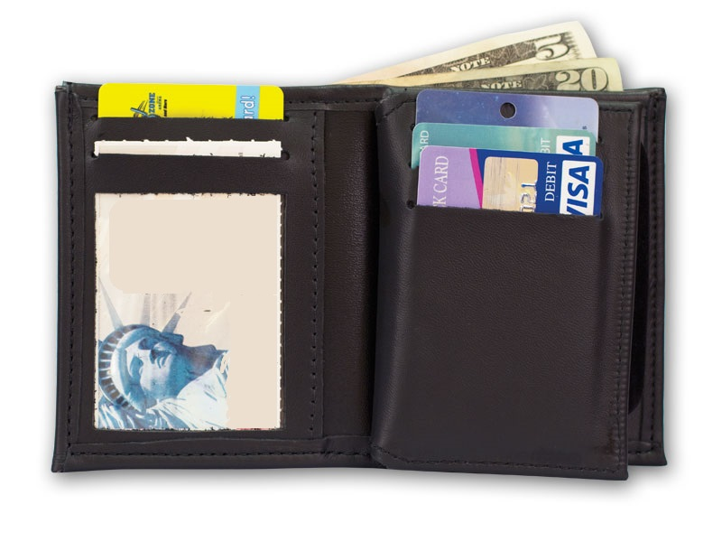 MP HIDDEN BADGE WALLET w/MONEY INSERT, 5 CC SLOTS & FLIPPING ID