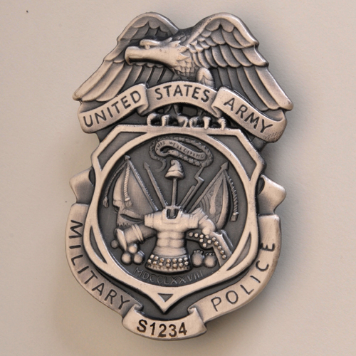Army MP Silver Ox Badge - LASER ENGRAVED!Read Details
