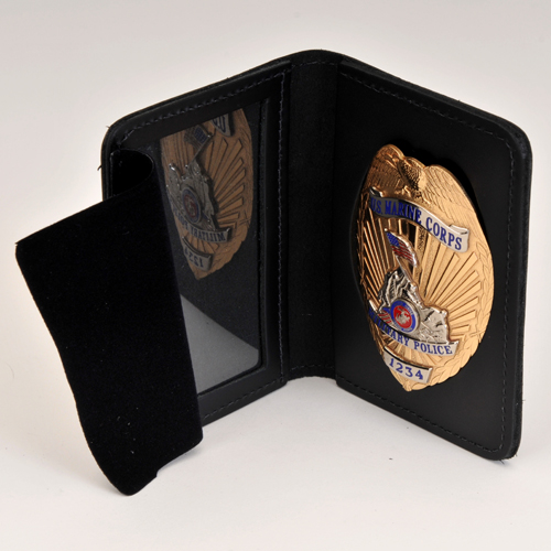 USMC MP LEATHER CRED/BADGE CASE; No Money Insert, With BADGE