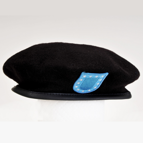 ARMY MP BERET (Black w/ Leather Head Band) WITH FLASH