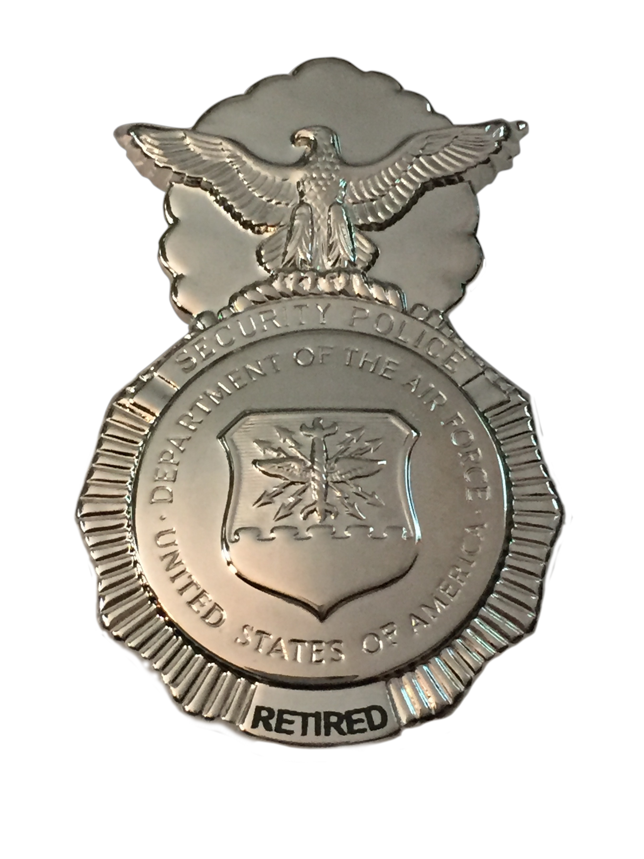 RETIRED USAF Security Police Badge-Engraved -Safety Pin Backing