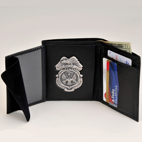 MP LEATHER CRED/BADGE CASE W/Silver Ox Badge & Credit Card Slots