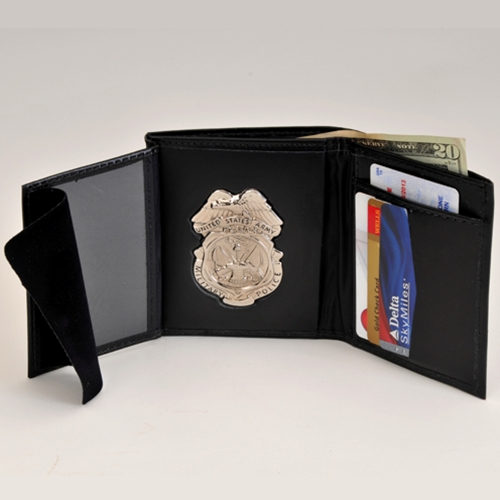 "MP LEATHER CRED/BADGE CASE W/Nickel Badge & Credit Card Slots; ID Size 2.75"" X 4.13"""