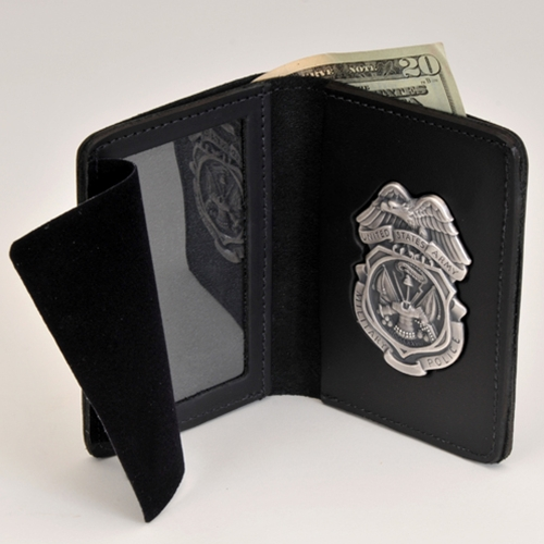 "ARMY MP LEATHER CRED/BADGE CASE-W/Money Insert & Nickel BADGE; ID Size: 2 3/4"" X 4 1/4"""