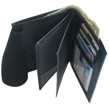"MPI LEATHER CRED/BADGE CASE with CC SLOTS; 2 ID WINDOWS Size 3"" X 5"" (LARGER WALLET for Investigators)"