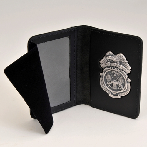 ARMY MP LTHR CRED/BADGE CASE W/Silver Ox Badge-NO Money Insert