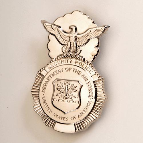 USAF SECURITY POLICE BADGE - with Safety Pin Backing