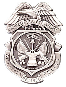"ARMY MPI BADGE - ""RETIRED"" - Silver Ox (Subdued Finish)"