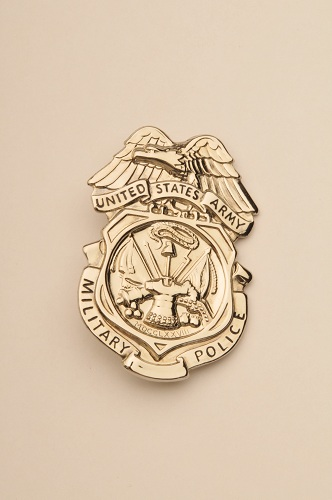 ARMY MILITARY POLICE BADGE - NICKEL (Shiny Finish)