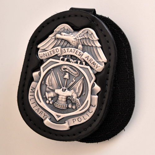 ARMY MILITARY POLICE INVESTIGATORS MPI BADGE HOLDER with SILVER OX Badge -Subdued Finish