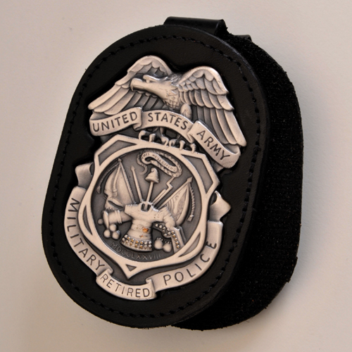 ARMY MP BADGE HOLDER with 'RETIRED' Badge-see Details