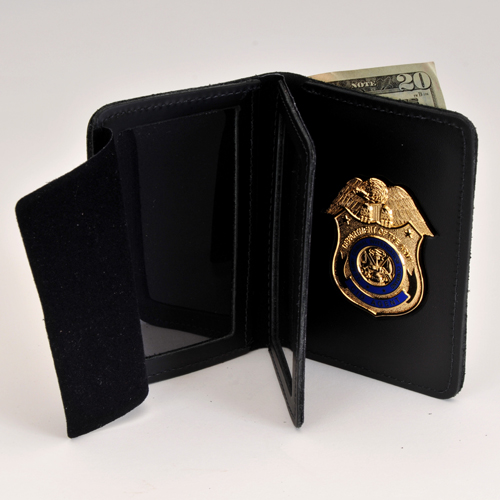 CID AGENT LEATHER CRED/BADGE CASE WITH Money Insert W/BADGE