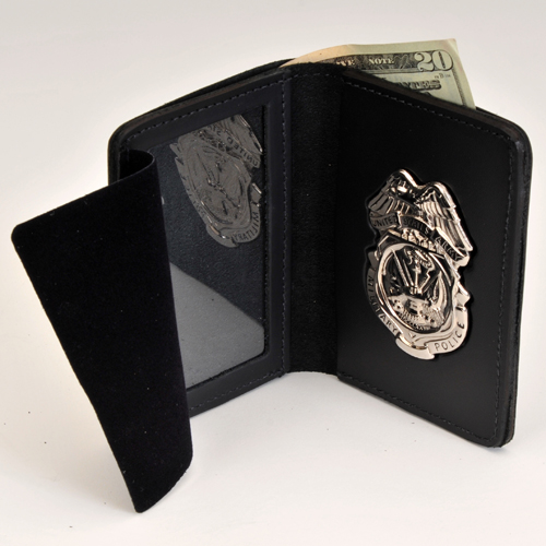 ARMY MP LEATHER CRED/BADGE CASE-W/Money Insert & Nickel BADGE