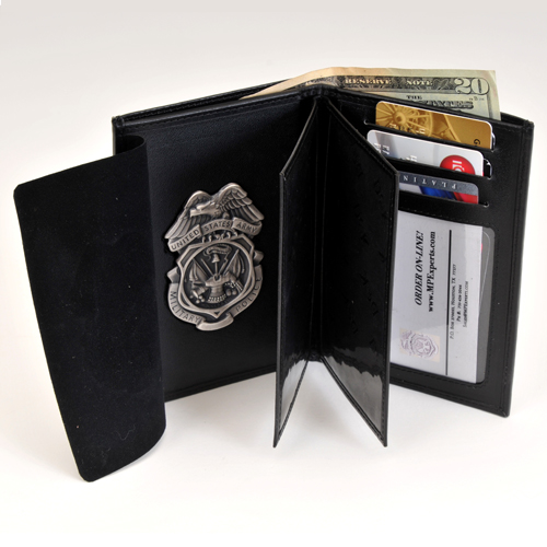 MPI LEATHER CRED/BADGE CASE w/BADGE-Silver Ox & CC Slots