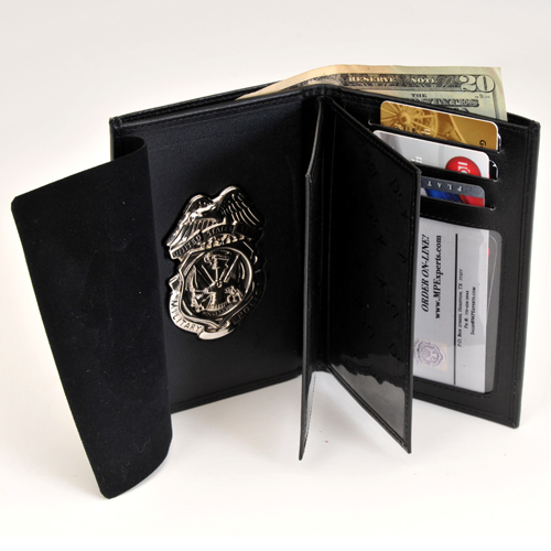 MPI LEATHER CRED/BADGE CASE W/BADGE (Nickel) & CC SLOTS