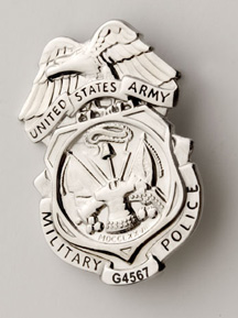 Army MP Nickel Badge -LASER ENGRAVED! Read Details