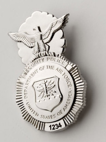 USAF Security Police Badge - Engraved - Safety Pin Backing